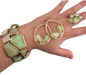 Neiman Marcus Brushed Gold And Sea Glass Set
