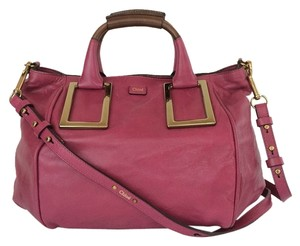Chloé Ethel Medium Mulberry Leather Satchel in Mulberry Pink
