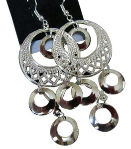 SALE! Fun and Shimmery Long Gold colored Dangle Earring Retro Modern Geometric Circles & Hoops