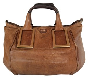 Chloé Ethel Nutmeg Leather Brass Satchel in Nutmeg Brown