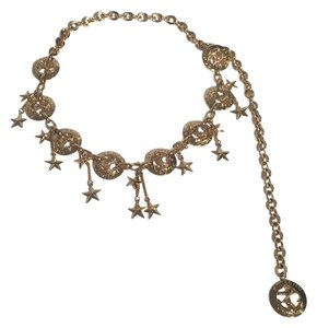 St. John St. John Nautical Anchor Star Charm Cruise Gold Tone Chain Belt.