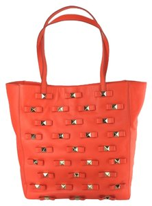 Kate Spade Bow Leather Metal Tote in Maraschino Red Orange