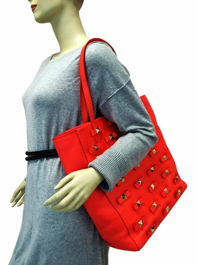 Kate Spade Bow Leather Metal Tote in Maraschino Red Orange Image 1