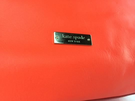 Kate Spade Bow Leather Metal Tote in Maraschino Red Orange Image 10