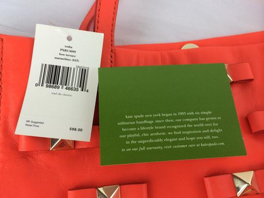 Kate Spade Bow Leather Metal Tote in Maraschino Red Orange Image 11