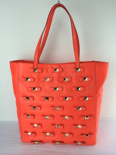 Kate Spade Bow Leather Metal Tote in Maraschino Red Orange Image 2