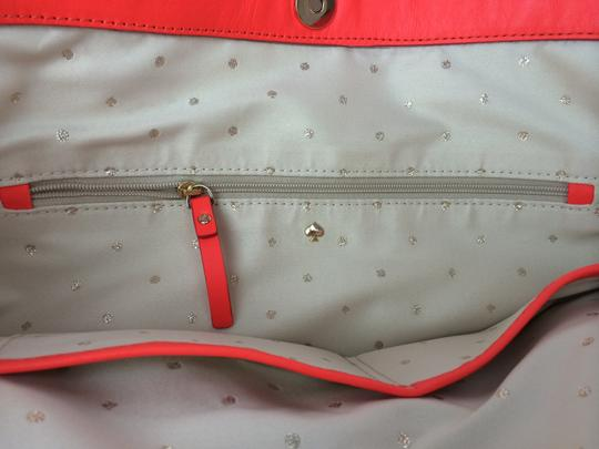 Kate Spade Bow Leather Metal Tote in Maraschino Red Orange Image 5