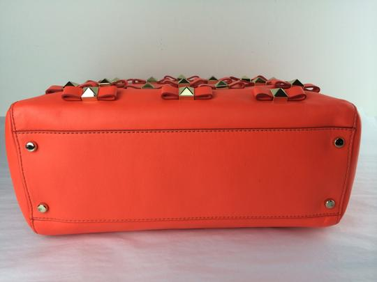 Kate Spade Bow Leather Metal Tote in Maraschino Red Orange Image 6