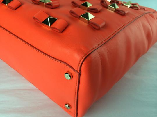 Kate Spade Bow Leather Metal Tote in Maraschino Red Orange Image 7