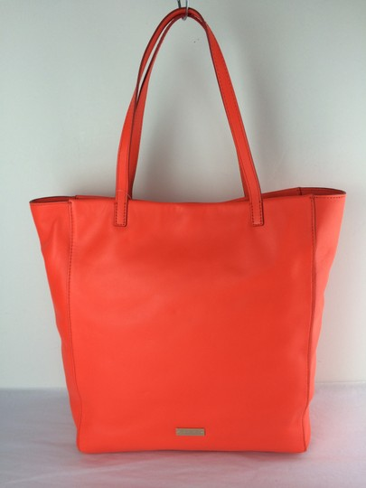 Kate Spade Bow Leather Metal Tote in Maraschino Red Orange Image 9