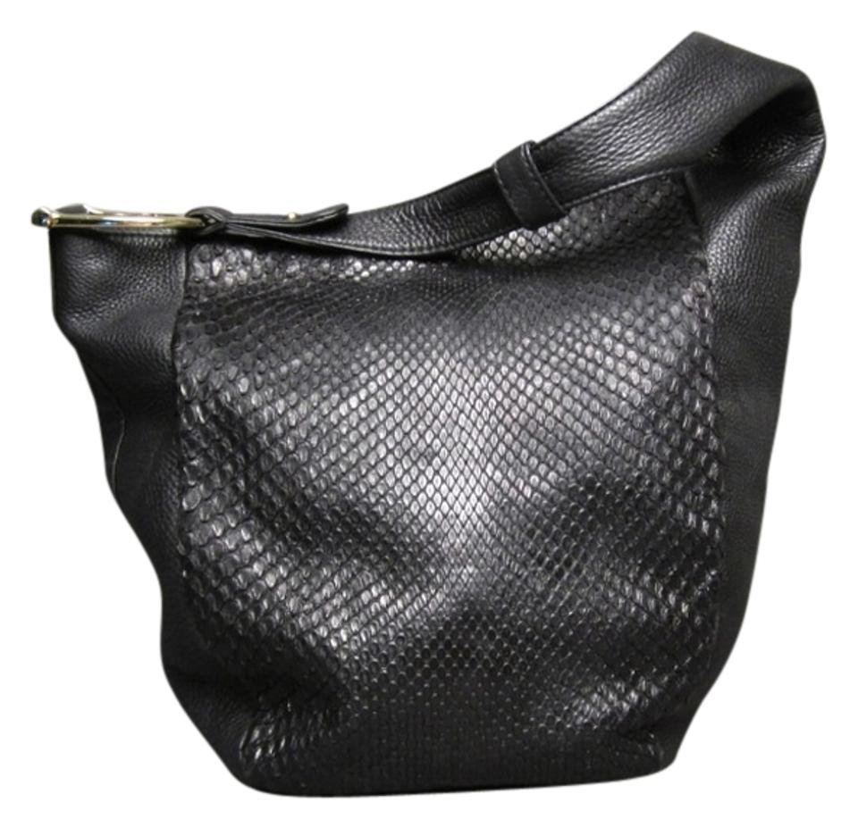 be7639cb7389a7 Gucci Greenwich And Large Black Python Skin Leather Hobo Bag - Tradesy