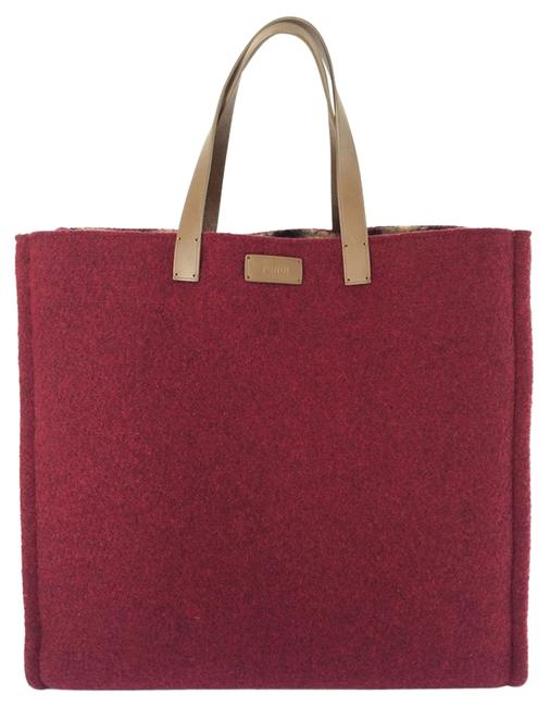 Fendi Purple Chic Shopper Mulberry Felt Tote Fendi Purple Chic Shopper Mulberry Felt Tote Image 1