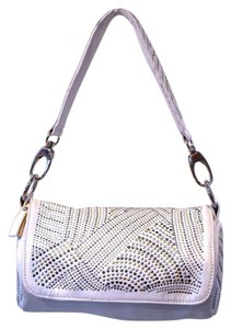 Tambourine Metallic Hardware Studded Handbag Clutch Satchel in white with gold and silver