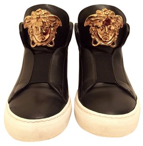 Versace Gold Palazzo Idol Medusa Luxe Luxury Designer Hitops Hightops Sneakers Casual Leather Calf Flashy Black Boots