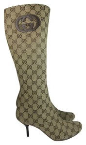 Gucci Gg Logo Leather Monogram Tall Boots