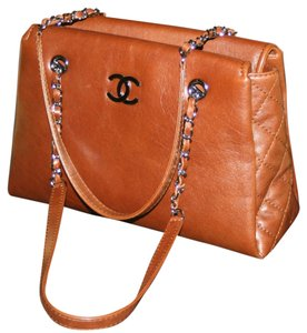 Chanel Gst Grand Shopping Grande Jumbo Cc Logo Timeless Classic Dark Caviar Quilted Leather Silver Hardware Shw Flap Reissue Tote in Cognac Brown Tan