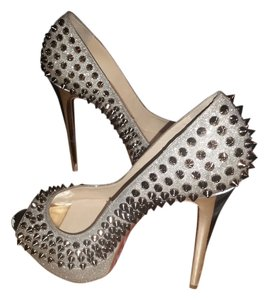 Christian Louboutin Lady Peep Spikes 150 Pump IVORY/COLOMBE METAL Pumps