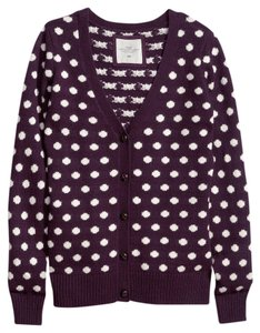 H&M Polka Dot Leather Buttons Elbow Patches Cardigan