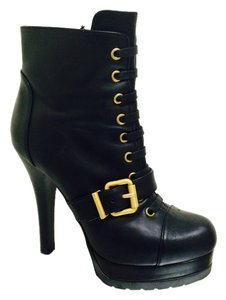Fendi Heels Platform Lace Up Lace Leather Studded Monogram 36 6 Black Boots