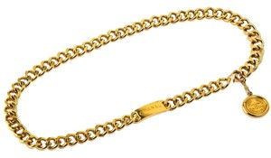 Chanel Authentic CHANEL Gold Tone Chain Medallion Coin Belt