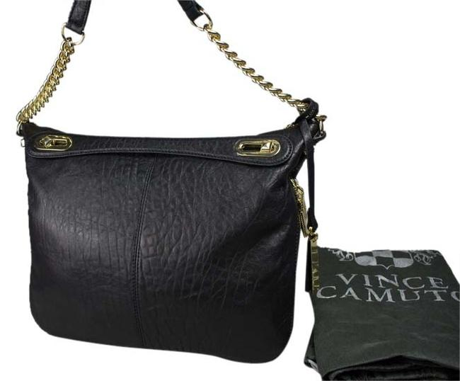 Vince Camuto Pebble Clair Medium Black Leather Satchel Vince Camuto Pebble Clair Medium Black Leather Satchel Image 1