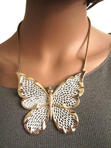 Unknown Signed Large White Butterfly Statement Gold or Plated Signed Necklace