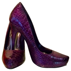 Joey O Crocodile Hidden Platform Purple Pumps