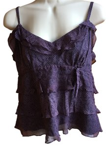 Tocca Feminine Ruffles Silk Top purple and navy