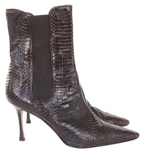 Manolo Blahnik Ankle Python Brown Boots