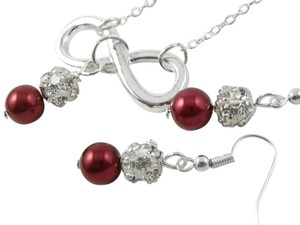 red pearl infinity charm rhinestone beads set of necklace and earrings