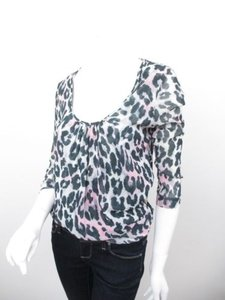 Sweet Pea by Stacy Frati Anthropologie Leopard Animal Print Nylon Mesh Top Gray, Black, Pink