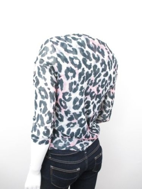 Sweet Pea by Stacy Frati Anthropologie Leopard Animal Print Nylon Mesh Top Gray, Black, Pink Image 1