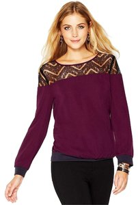 Bar III Colorblocking Semi-sheer Lace Sophisticated Top Purple