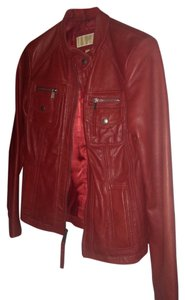 Michael Kors Muted Red Leather Jacket