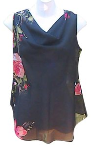 Trixxi Black Sleeveless Top Floral