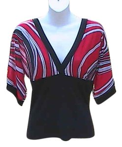 Zoey & Beth Short Sleeve Swirl Top Stripe