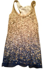 Renzo and Kai Top Blue & Gold Sequin