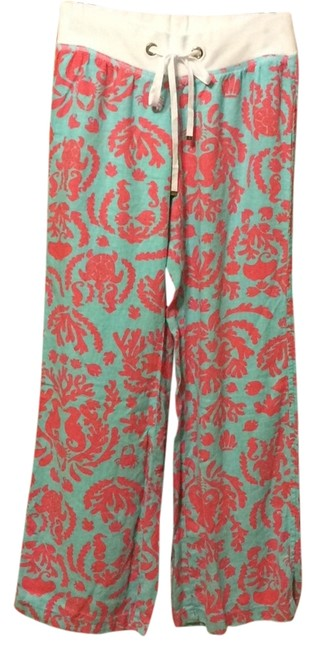 Item - Teal and Coral Don't Be Shellfish Beach Pants Size 8 (M, 29, 30)