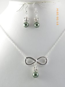 Green Sale Of 6 Infinity Bridesmaid Necklace and Earrings 6 Infinity Charm Necklace Of 6 Bridesmaid Necklace Infinity Jewelry Set