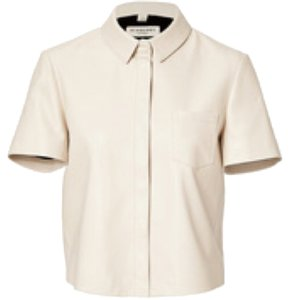 Burberry London Leather Cropped Button Down Shirt Ivory