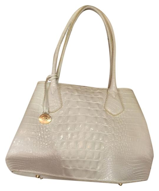 Item - White/Gold White Leather Tote