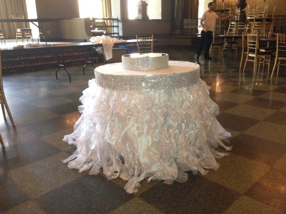 White Tutu Cake Head Table Skirting Tradesy Weddings