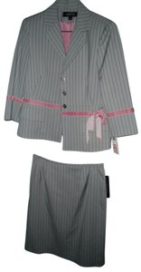 Kasper Kasper 2 Pc Grey Pinstripe Skirt Suit with Pink Accents Size 6 Petite NWT