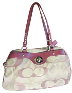 Coach Large 3 Compartments Turn Lock Tan & Raspberry Some Use Signature Print Shoulder Bag