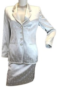Louis Feraud Louis Feraud Satin Print White Skirt Suit US 8 F 40
