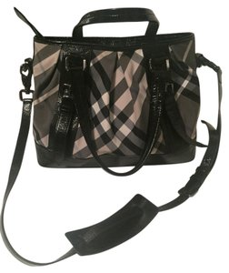 Burberry Tote Beat Check Patent Leather Cross Body Bag