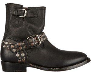 Ash Moto Ankle Video Vintage Studded Leather Size 8 Black Boots