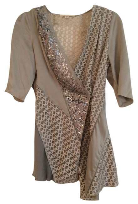 Burning Torch Lace Sequin Silk Top cream, grey, silver