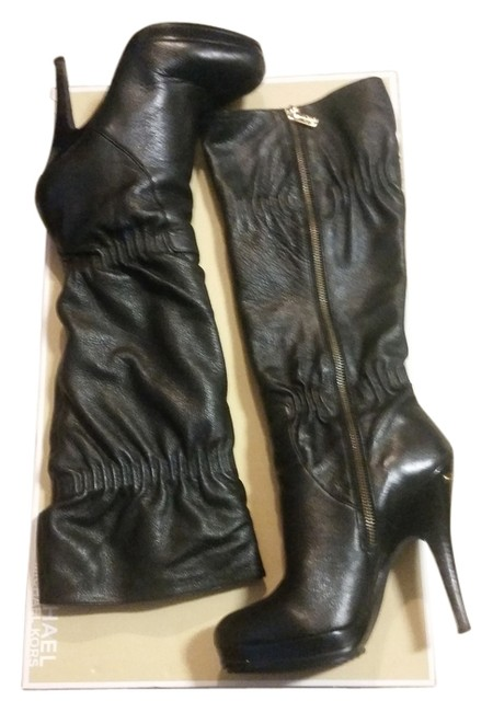 Michael Kors Black Leather Knee Boots/Booties Size US 7 Michael Kors Black Leather Knee Boots/Booties Size US 7 Image 1