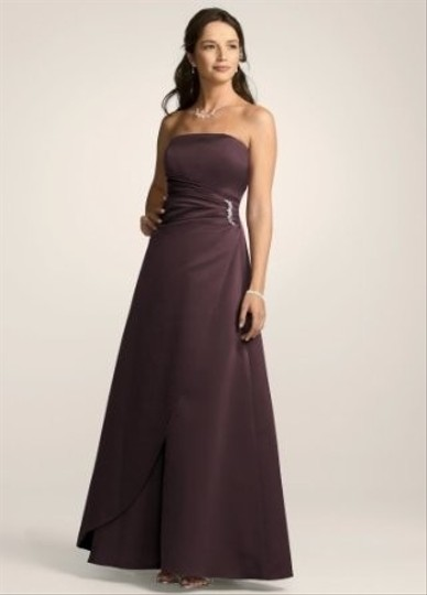 David's Bridal Purple Satin Gown With Side Drape And Brooch Style 8567 Dress